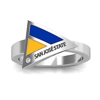San Jose State University Engraved Sterling Silver Diamond Geometric Ring In Blue and Yellow