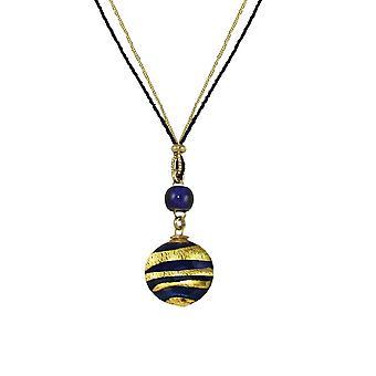 Eternal Collection Grazia Cobalt Blue And Gold Venetian Murano Glass Disc Pendant