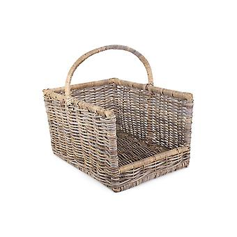 Media Kubu Grey Rattan Open Ended Log Basket