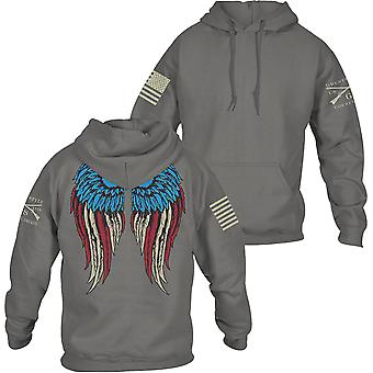 Grunt Style Women's Relaxed Fit Freedom Angel 2.0 Pullover Hoodie - Gray