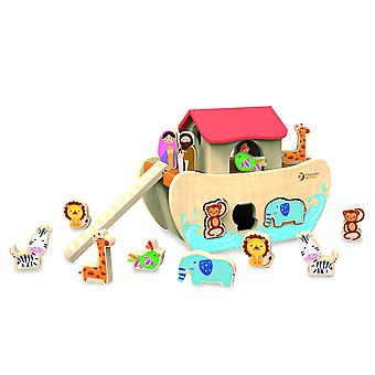 Classic World - Wooden Noah's Ark 19 Piece Shape Sorter with Figurines and Animals for 18 Months +
