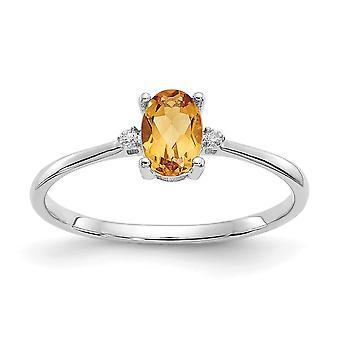 10k White Gold Oval Polished Prong set Diamond Citrine Ring - .01 dwt - Size 6