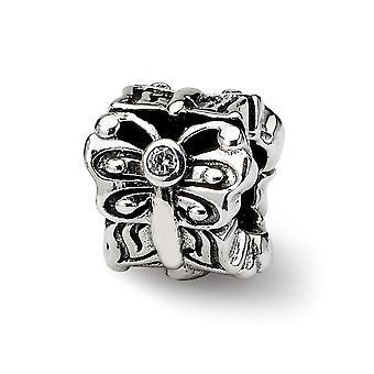 925 reflejos de plata esterlina mariposa angel wings con zirconia cz cúbica simulado diamante Bali abalorio encanto N
