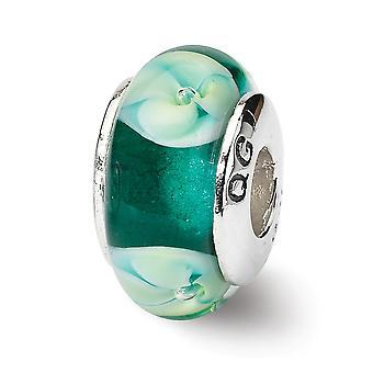 925 plata esterlina pulido acabado reflexiones azul Floral Murano vidrio perla encanto colgante collar joyas regalos para W