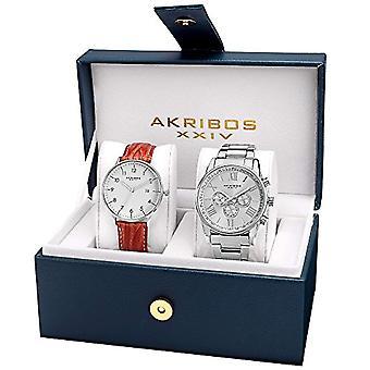 Akribos XXIV AK884SS تعيين الكوارتز التناظرية المعصم ووتش، التناظرية، أنثى، 2 قطعة