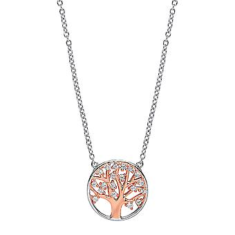 Jewelco London Ladies Rose Gold-Plated Silver White Round cubic zirconia Tree of Life Pendant Necklace 17 inch