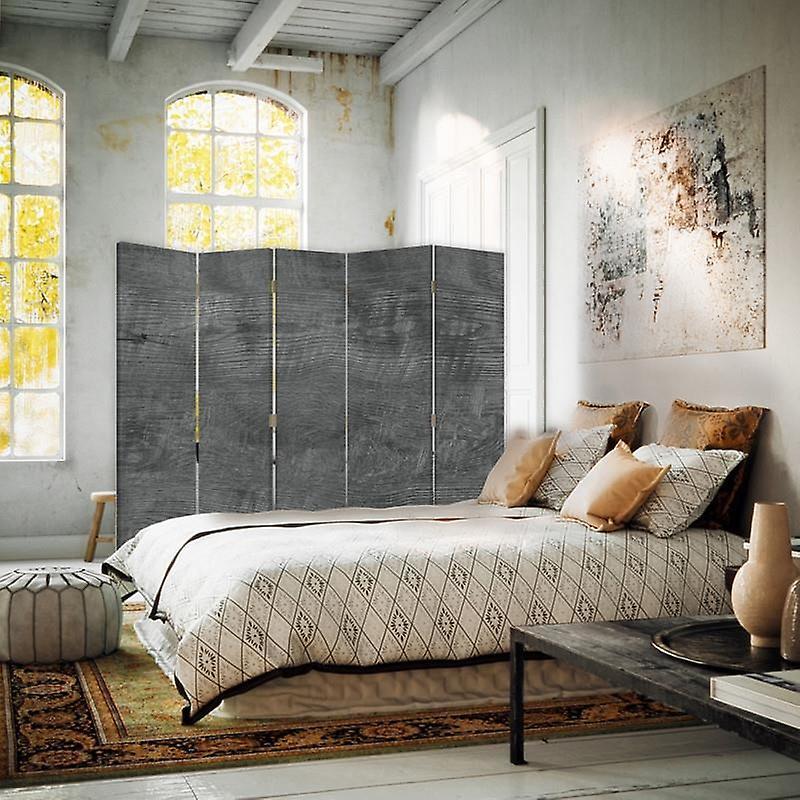 Diviseur de chambre, 5 panneaux, toile, gris de bois