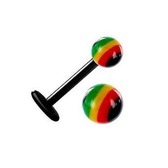 5/10/25/50 Piercing Labret Rasta Ball Flessibile Bioflex Reggae Tragus