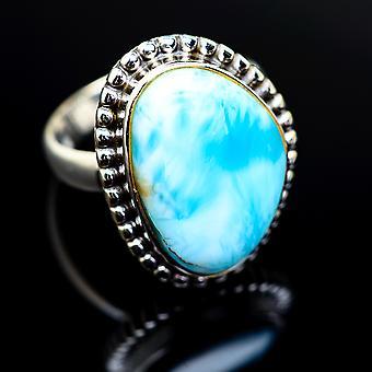 Larimar Ring Größe 6,5 (925 Sterling Silber) - handgemachte Boho Vintage Schmuck RING975581