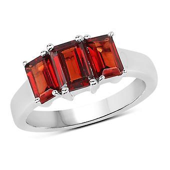 Dazzlingrock Collection Sterling Silver Octagon Cut Garnet Ladies 3 Stone Bridal Engagement Ring