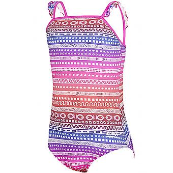 Zoggs Girls Ikat Frill Classicback Swimwear Swimsuit Holiday Costume Pink/Multi