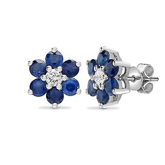 Jewelco London 18ct 2 Colour Gold G SI 0.21ct Diamond and Blue 1.8ct Sapphire 7 Stone Flower Cluster Stud Earrings