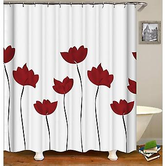 Red Tulip Drawing Shower Curtain