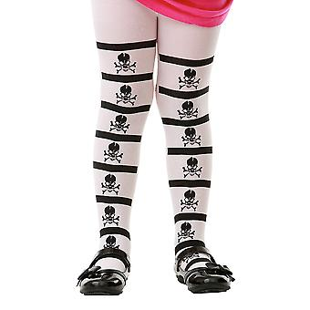 Striped Pirate Skull Costume Tights, L