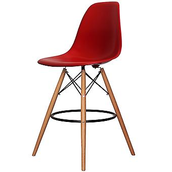 Charles Eames Style Red Plastic Bar Stool