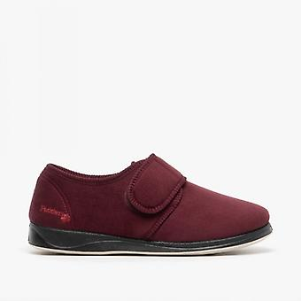 Padders Charles Mens Microsuede Wide (g Fit) Full Slippers Burgundy