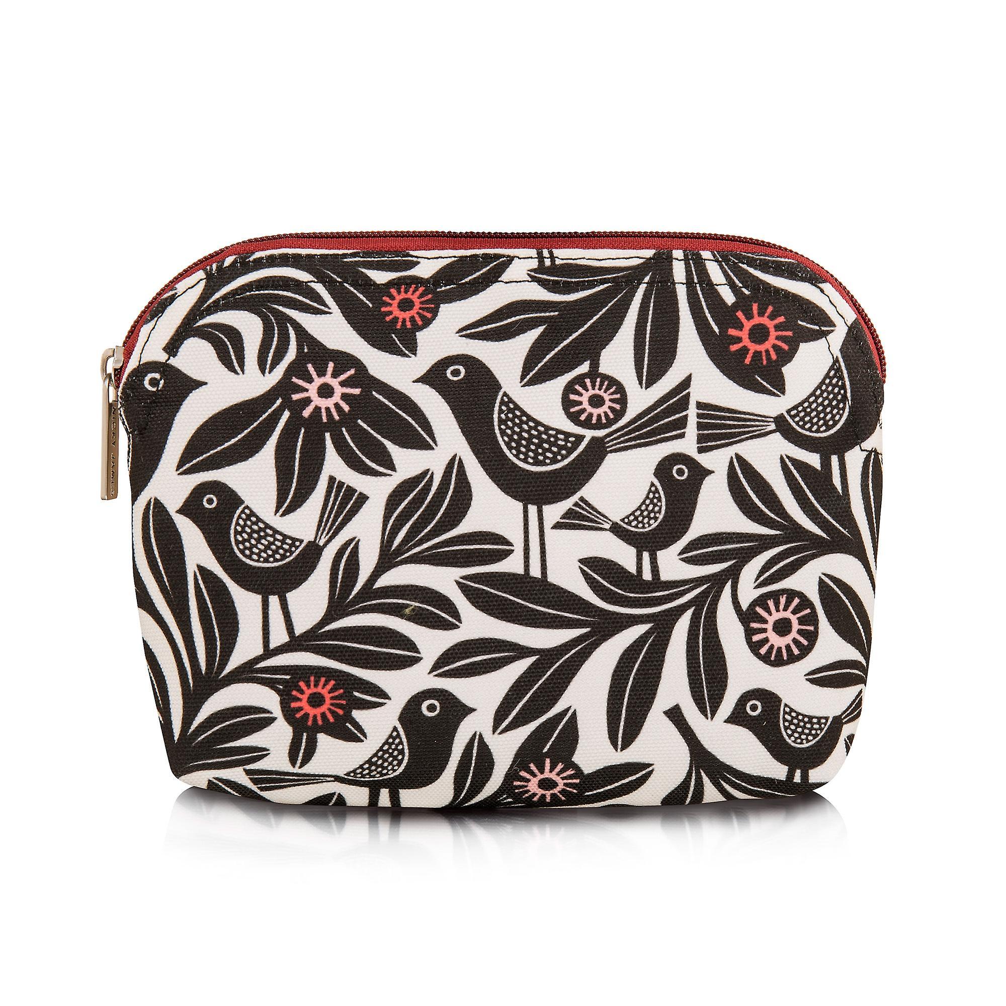 Nicky James Black Bloom Canvas Make-Up Bag