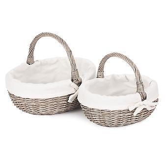 Jogo de 2 cesta de compra antila alinhada do banheiro do banheiro da lavagem