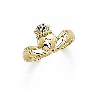 14k Yellow Gold Claddagh Diamond Toe Ring Jewelry Gifts for Women