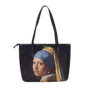 Vermeer - girl with a pearl earring shoulder tote bag by signare tapestry / coll-art-jv-girl