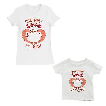 Shrimply kjærlighet baby mamma mor og baby matchende gave skjorter hvit