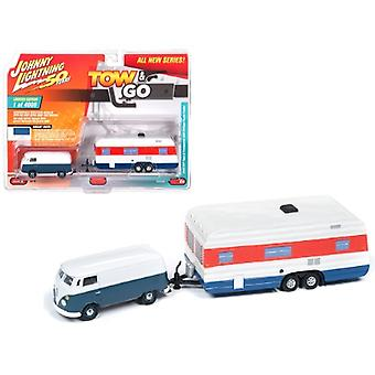 1965 Volkswagen Type 2 Transporter Dove Blue and White with Vintage House Trailer Limited Edition to 4,000 pieces Worldwide Tow & Go Series 1 1/64 Diecast Model Car by Johnny Lightning