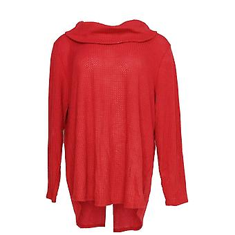 Style & Co. Women's Plus Top Cowl Neck Long Sleeve Waffle Knit Red PTC
