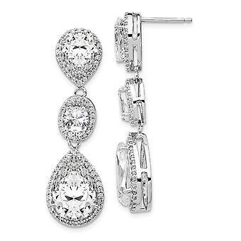 11mm Cheryl M 925 Sterling Silver Fancy CZ Cubic Zirconia simuleret Diamond Dingle Post Øreringe smykker Gaver til kvinder