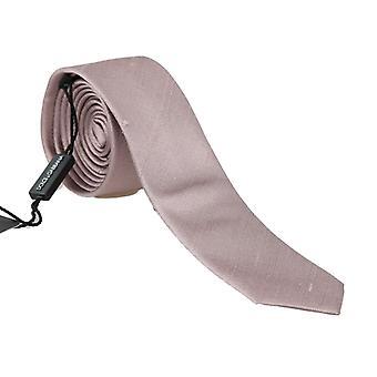 Dolce & Gabbana Pink Beige Silk Solid Slim Tie