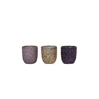 Light & Living Tealight 3 Set 6.5x7cm - Branca Purple-Copper
