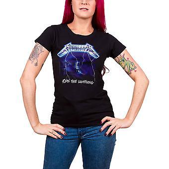 Metallica T Shirt Ride The Lightning Tracks new Official Womens Skinny Fit Black