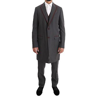 Dolce & Gabbana Gray Wool Stretch 3 Piece Two Button Suit