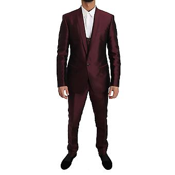 Dolce & Gabbana Slim Fit Bordeaux Silk 3 Piece Martini Suit