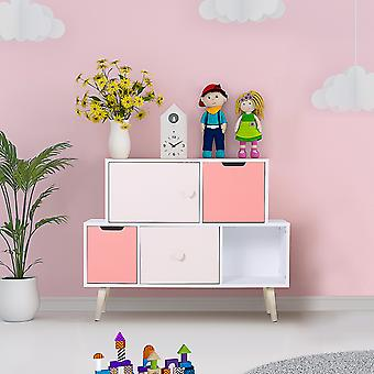 5 Cube Kids Storage Cabinet Large Bedroom Unit w/ Wood Legs Heart Handles Organisation Toy Books Games Child Tidy Pretty Pink White