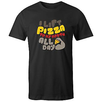 Boys Crew Neck Tee Short Sleeve Men's T Shirt- I Lift Pizza To My Mouth All Day