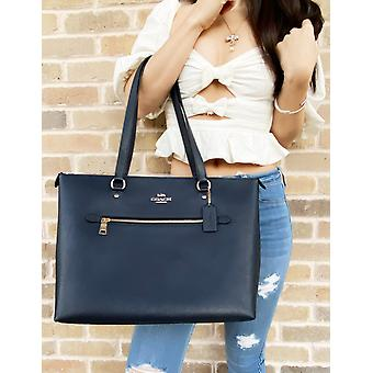 Coach 79608 gallery tote crossgrain leather tote midnight blue