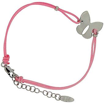 TOC Girls Sterling Silver Butterfly Charm Pink Cord Bracelet 6.25+1