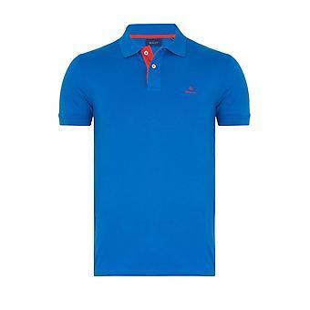 Gant Kontrast Kragen Pique Ss Rugger Polo Shirt nautische blau