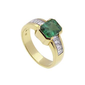 18 carat gold ring with emerald and diamonds