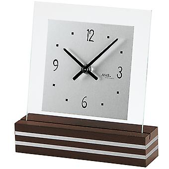 AMS 1106 Table clock Quartz analog modern wood walnut colors with glass