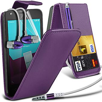 i-Tronixs Vodafone Prime 7 Case Cover PU Leather Flip Case + Earphones -Purple