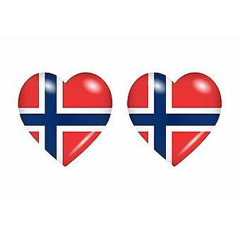 2x Stick pegatina bandera del corazón N norway