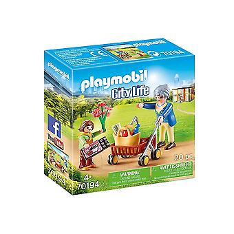 playmobil 70194 city life grandmother with child playset 20pcs for ages 4 and