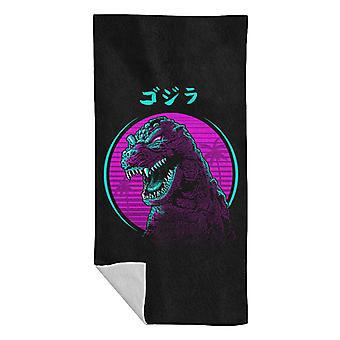 Retro Godzilla Face Beach Towel