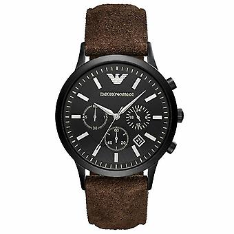 Emporio Armani AR11078 Chronograph Leather Brown 43mm Black Dial Men's Watch