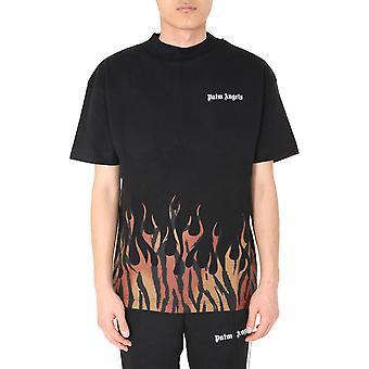 Palm Angels Pmaa001e20jer0011020 Men's Black Cotton T-shirt
