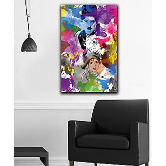 Pintura de parede 68 poliéster multicolorido, madeira 45x3x70 cm