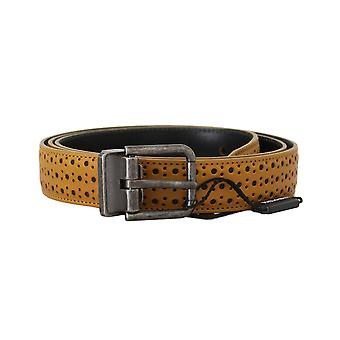 Dolce & Gabbana Yellow Leather Perforated Metal Buckle  Belt