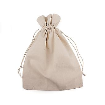 8 Large 20x29cm Linen Fabric Drawstring Bags to Paint & Decorate