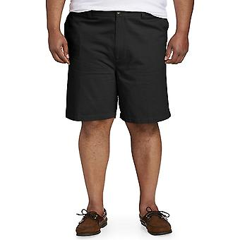 Essentials Men's Big & Tall Flat-Front Scurt, Negru 46
